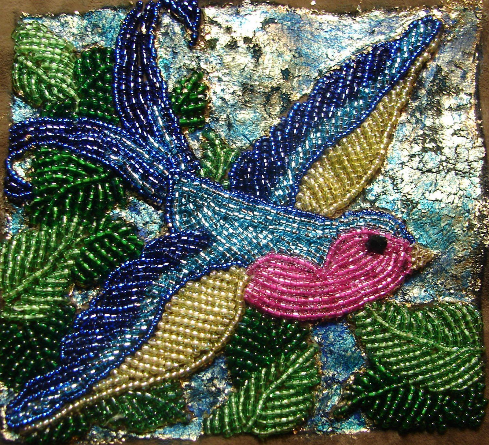 My beaded bluebird of happiness seed beads and gold leaf