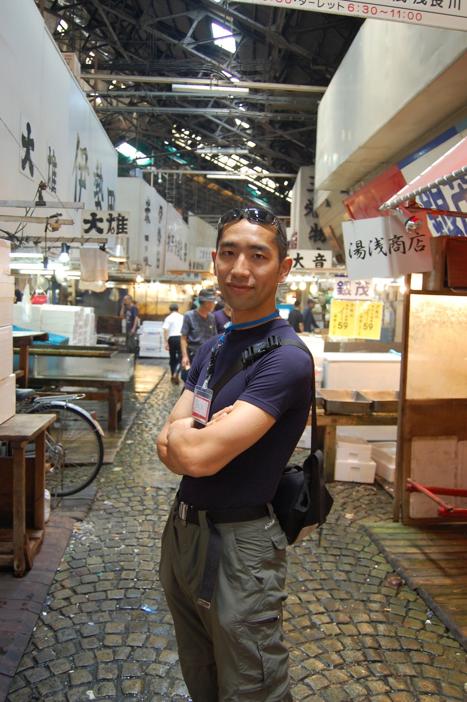 Shinji at Tsukiji Market. Shinji is a former buyer at Tsukiji Market and is currently attending culinary school to study Japanese cuisine. We look forward to opening our cooking school next year.