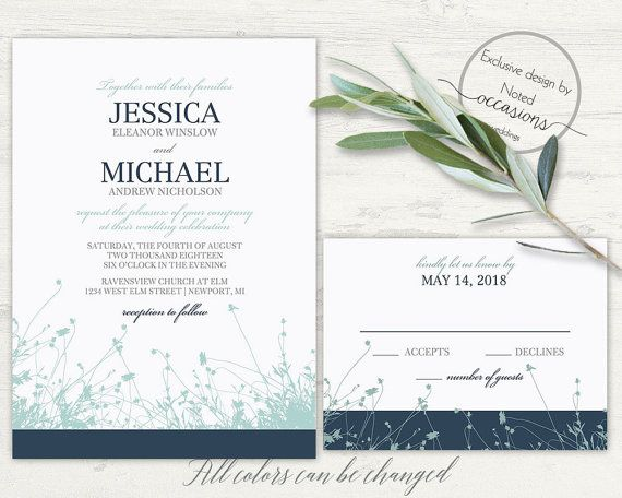 Wildflower Wedding Invitation Set Rustic Spring Wedding Invites
