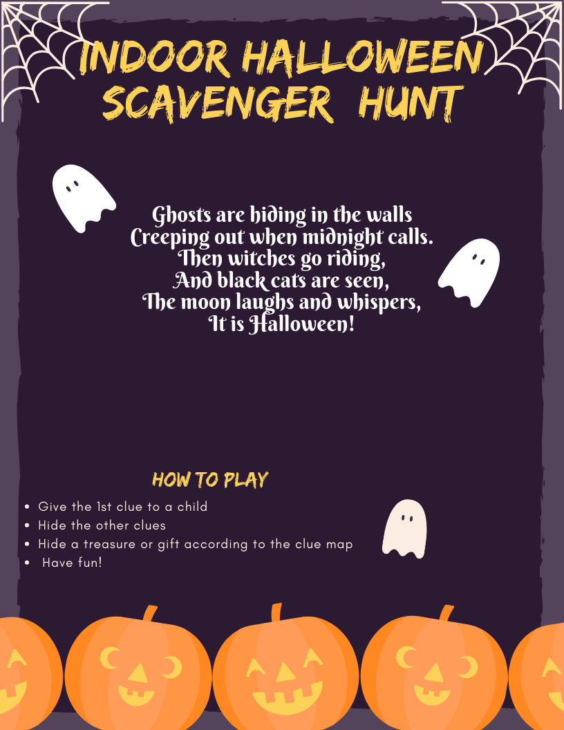 Have fun with this Halloween Scavenger Hunt Clues