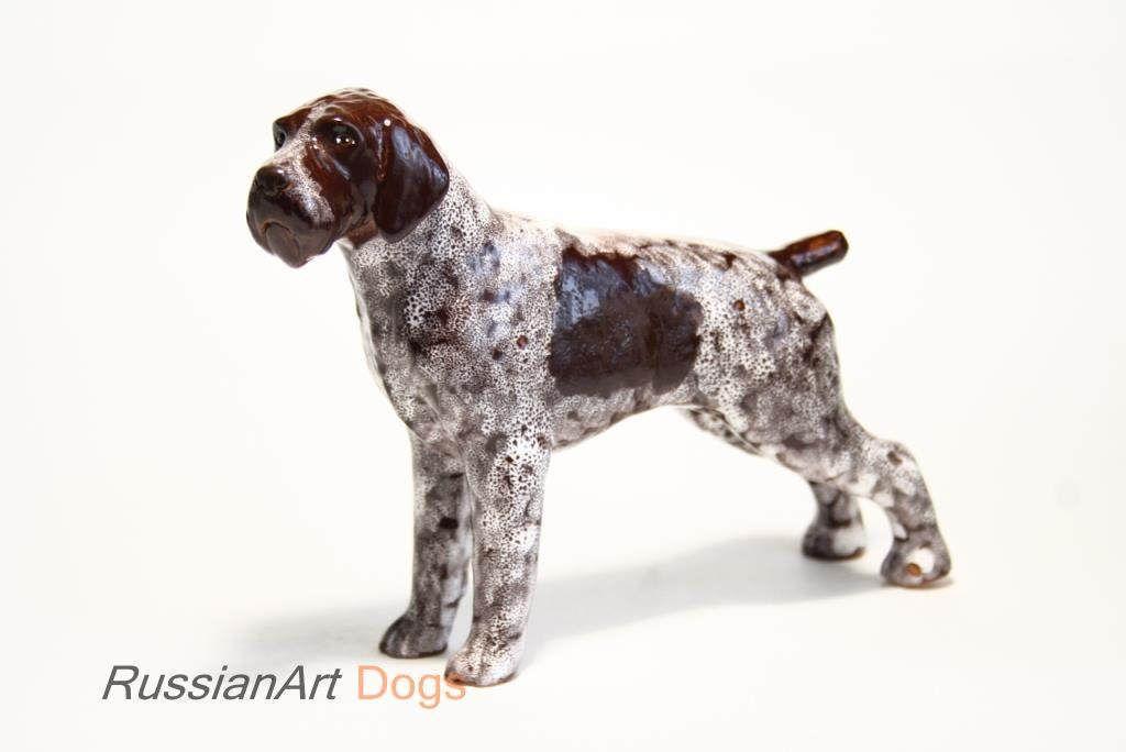 German Wirehaired Pointer dog ceramic figurine handmade