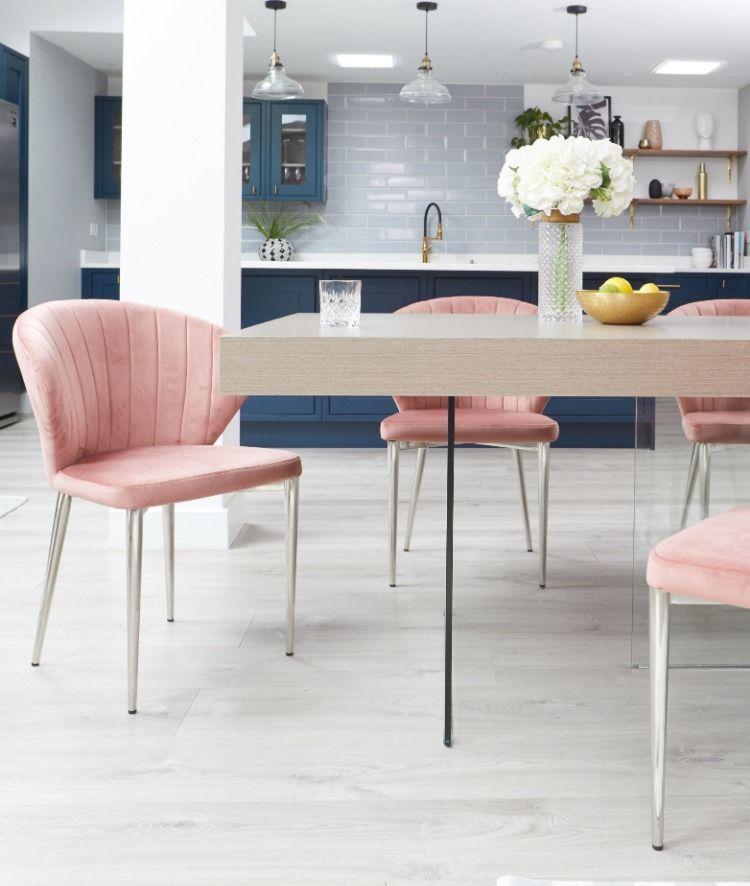 Harper Shell Pink Velvet Dining Chair