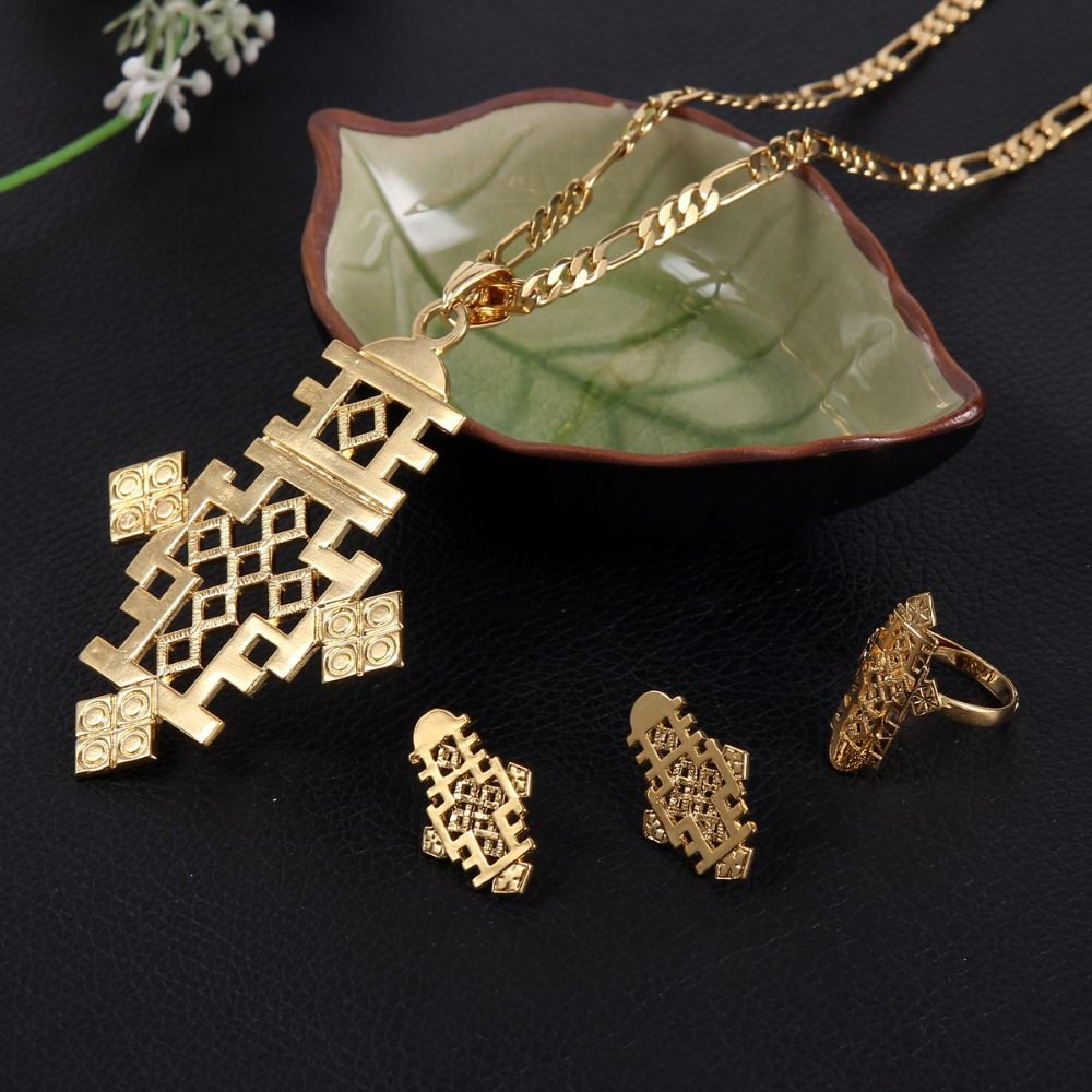 Ethiopian cross jewelry pendant necklaceearringsbanglering set