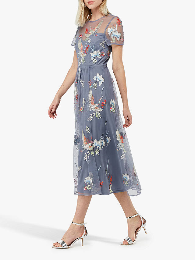 Monsoon Callie Crane Dress Grey With Images Embroidered Midi Dress Sweaters Women Fashion Fashion For Petite Women