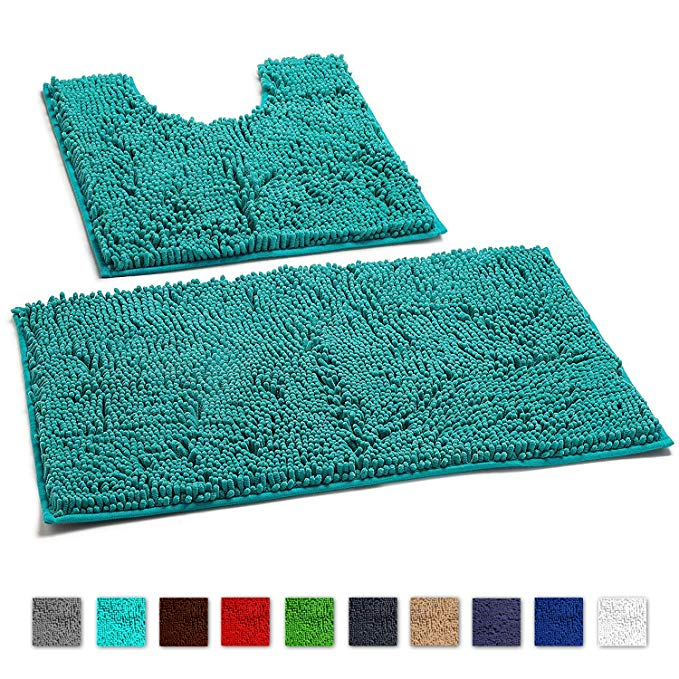 Amazon Com Luxurux Bathroom Rugs Luxury Chenille 2 Piece Bath Mat Set Soft Plush Anti Slip Shower Rug Toi Bathroom Rugs Bathroom Floor Mat Washable Bath Mat