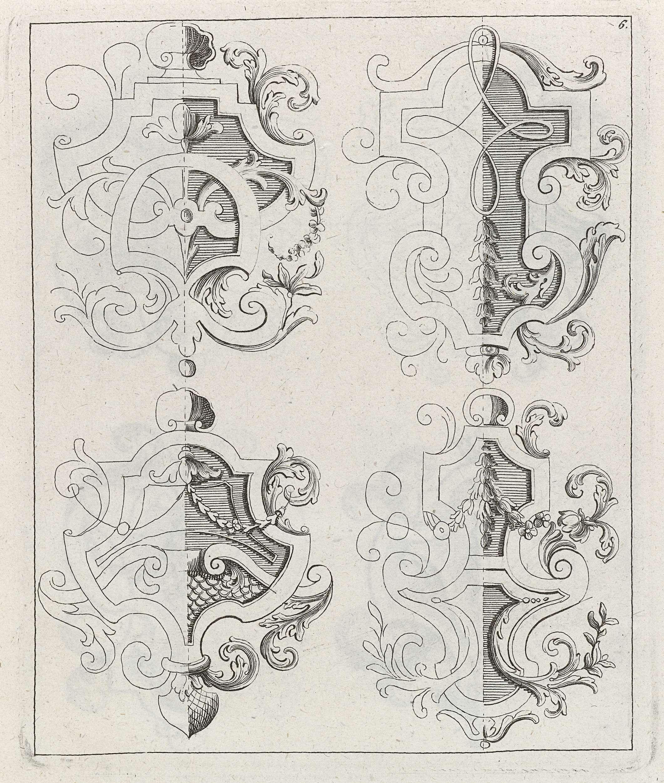 Vier decoraties met vlechtwerk, anoniem, Johann Daniel Preissler, 1704 - 1737