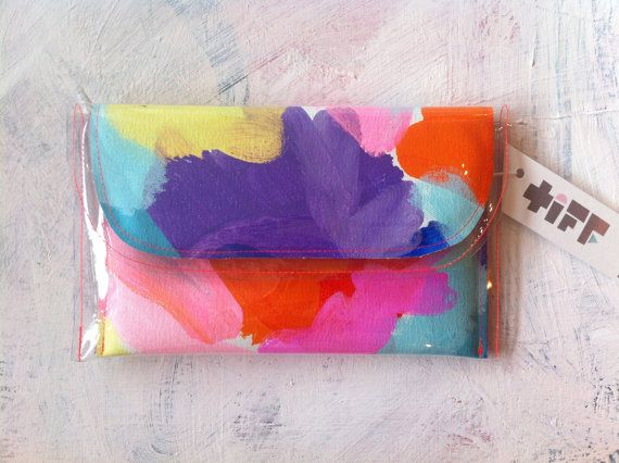 Colourful clear hand painted clutch from tiffmanuell! love love love!