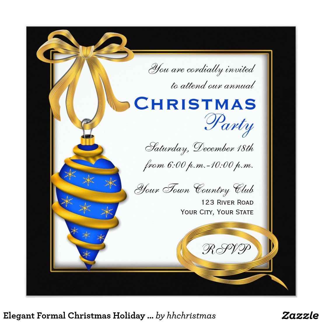 Elegant Formal Christmas Holiday Party Invitation   christmas invite ...