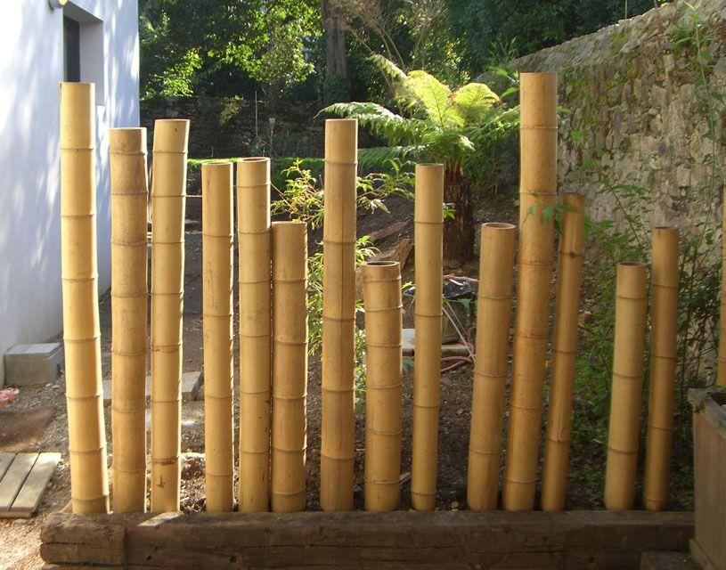 Cl ture en canne de bambou naturelle diam 10 14 cm for Barriere deco jardin