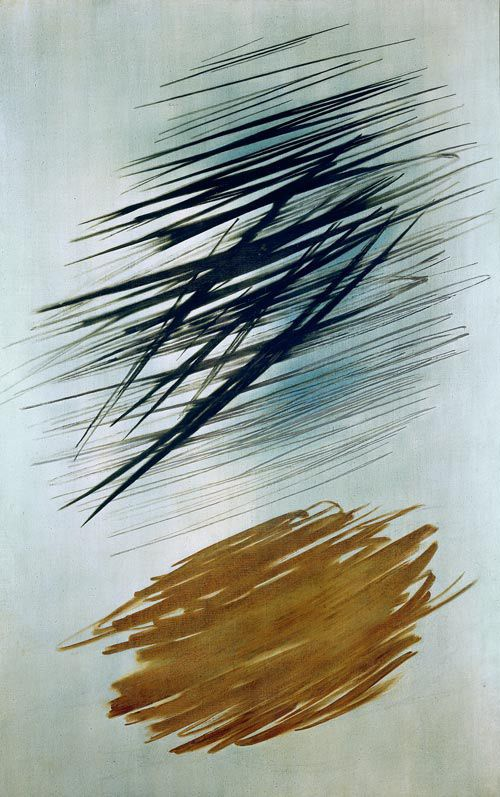 """Hans Hartung / T56-21 / 1956 / oil on canvas / """"His claims to a systematic approach is also shown in his titles, where like a book keeper he gives exact information on the technique and the time when the work was done."""" -- Museum Ludwig"""