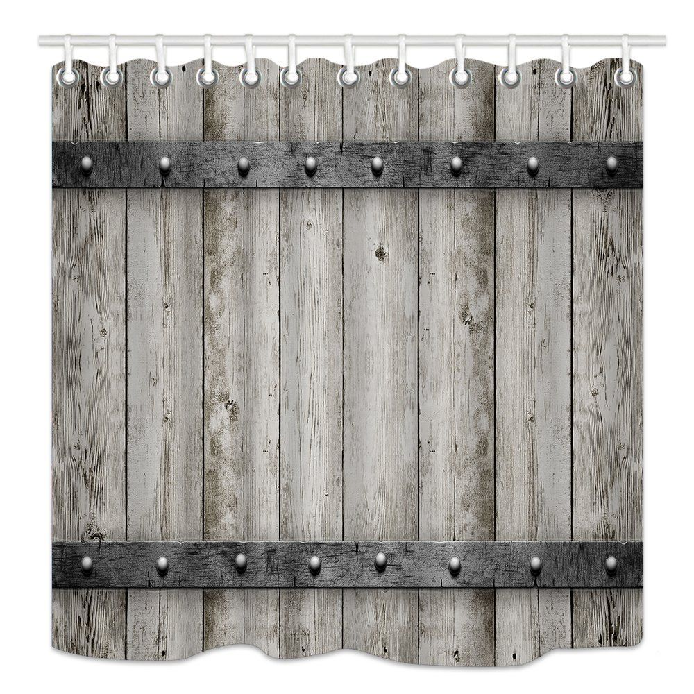 Dynh Rustic Barn Door Shower Curtain Wooden Wood With Metal Texture Western Country Theme House Rustic Barn Door Barn Door Shower Curtain Shower Curtain Decor