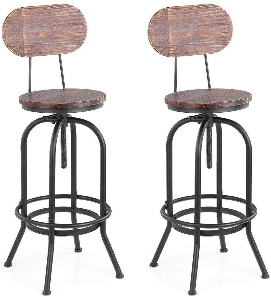 IKAYAA Sgabelli da Bar, 2 Sgabello Industriale Style Bar