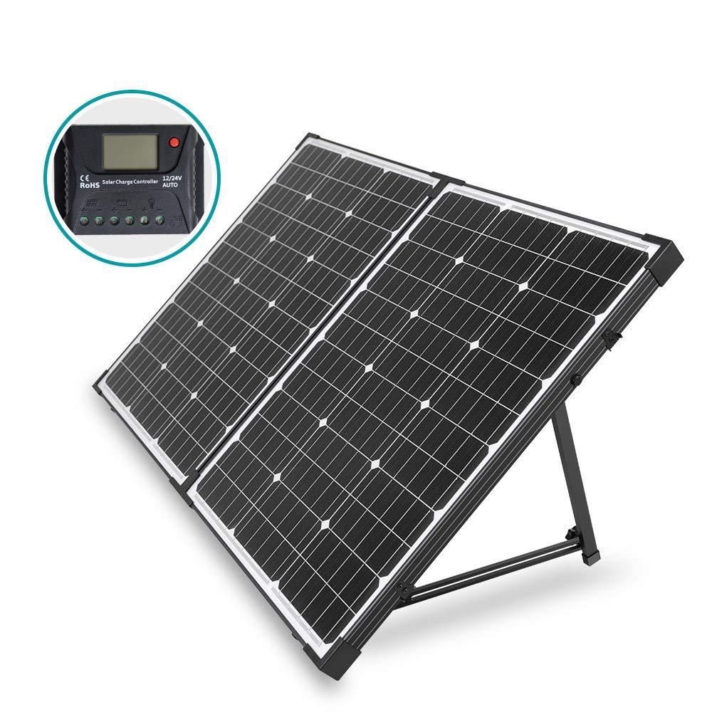 Hqst 100 Watt 12 Volt Off Grid Monocrystalline Portable Folding Solar Panel Suitcase With Charge Controller Hqst Stcs100d In 2020 Solar Panels Solar Panels For Home Best Solar Panels