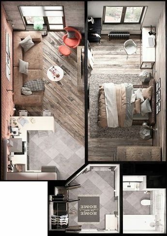 Apartamento moderno com 1 quarto Workspace Pinterest Casas - departamento de soltero moderno pequeo