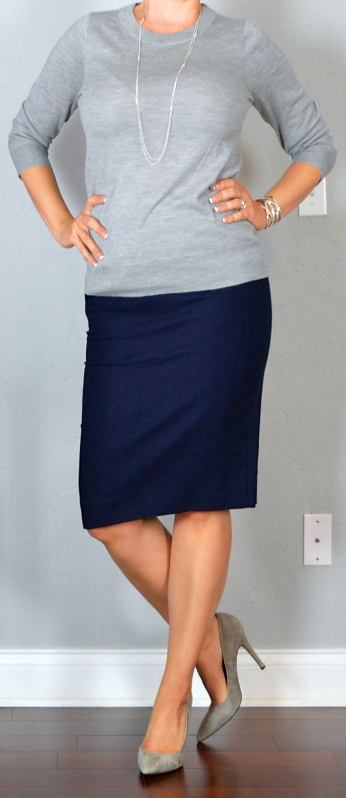 grey sweater, navy pencil skirt, grey pumps, silver station necklace