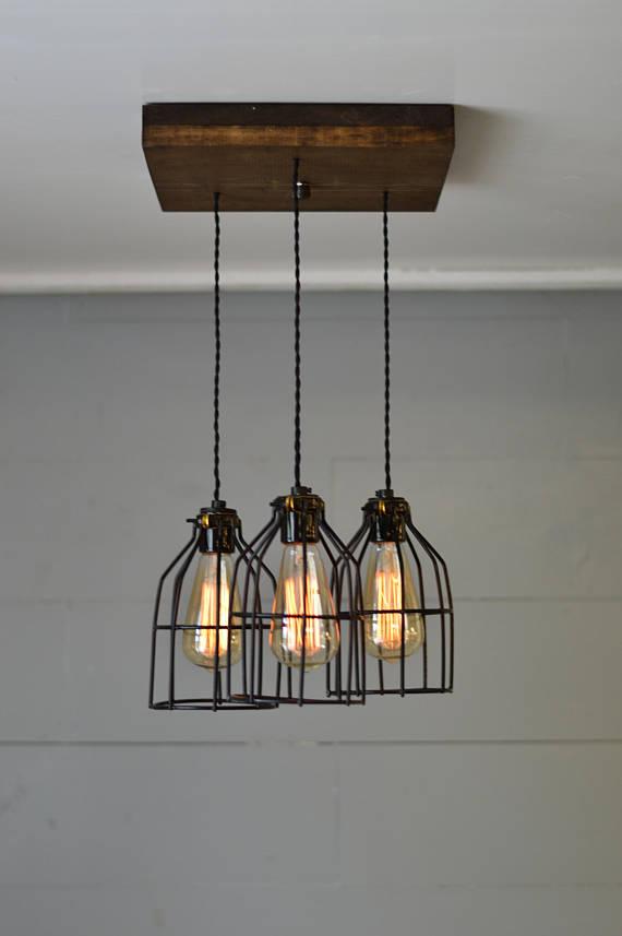 Farmhouse Light Reclaimed Wood Chandelier Light Fixture