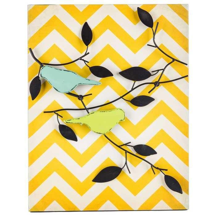 Yellow Chevron Metal Bird & Branch Wall Decor   Decor   Pinterest ...