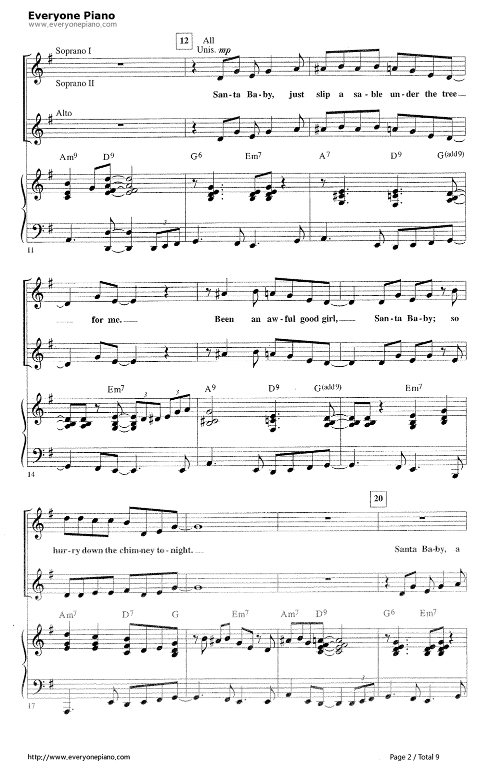 Santa baby eartha kitt stave preview 2 free piano sheet music santa baby eartha kitt stave preview 2 free piano sheet music piano chords hexwebz Images