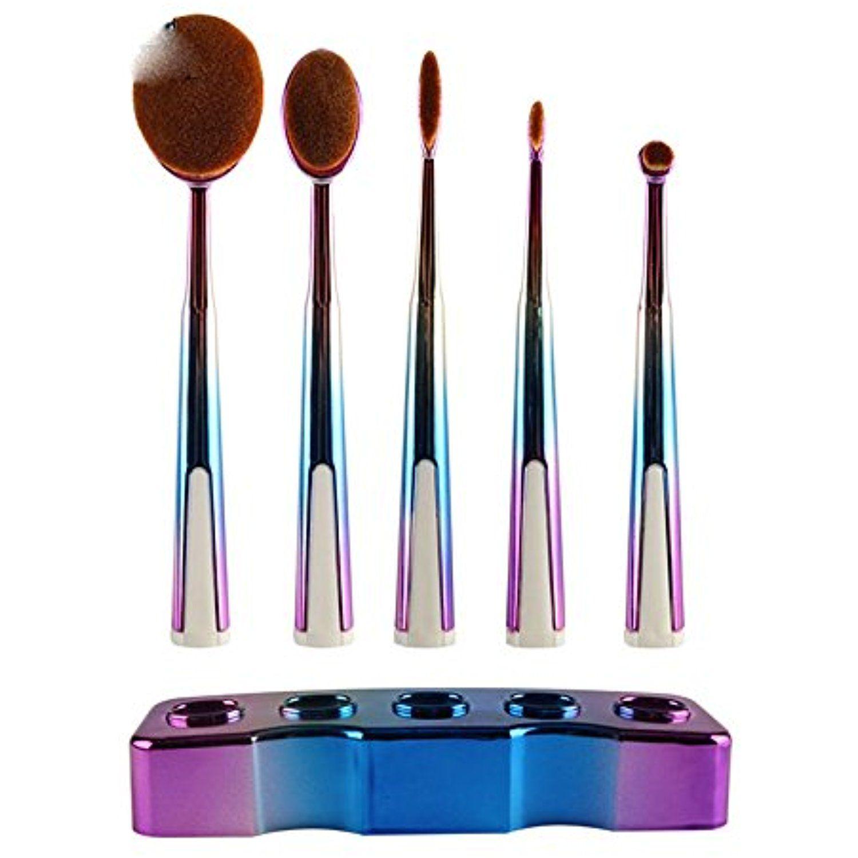 44deb413e508 Oval Toothbrush Makeup Brush Set, 5pcs Rainbow Color Premium Make Up ...