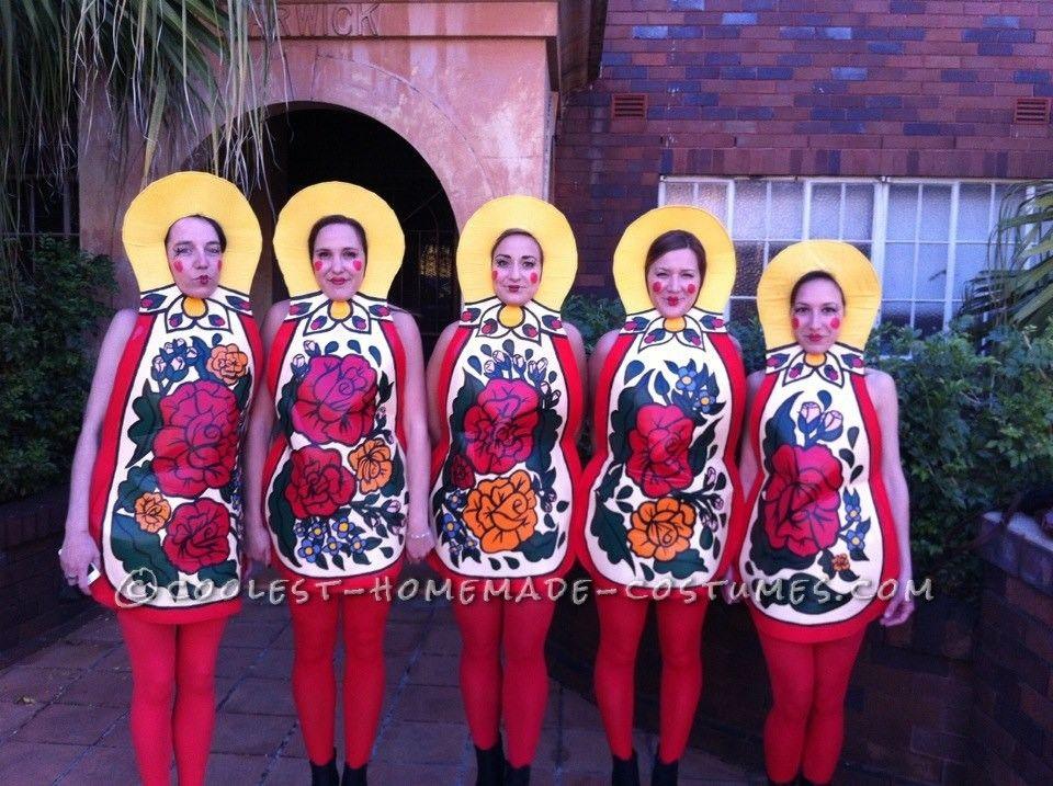 awesome homemade group costume matryoshkarussian nesting dolls doll halloween costumesdoll costumediy - Group Diy Halloween Costumes