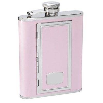 Visol Products SP Leather Flask with Built in Cigarette Case