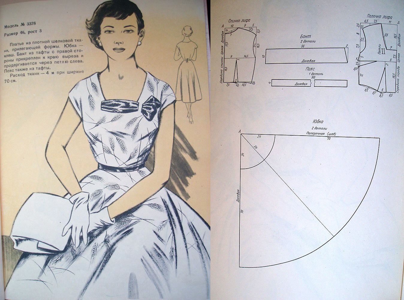 DIY Full-Skirted Vintage 50\'s Dress - FREE Sewing Draft | Interesant ...