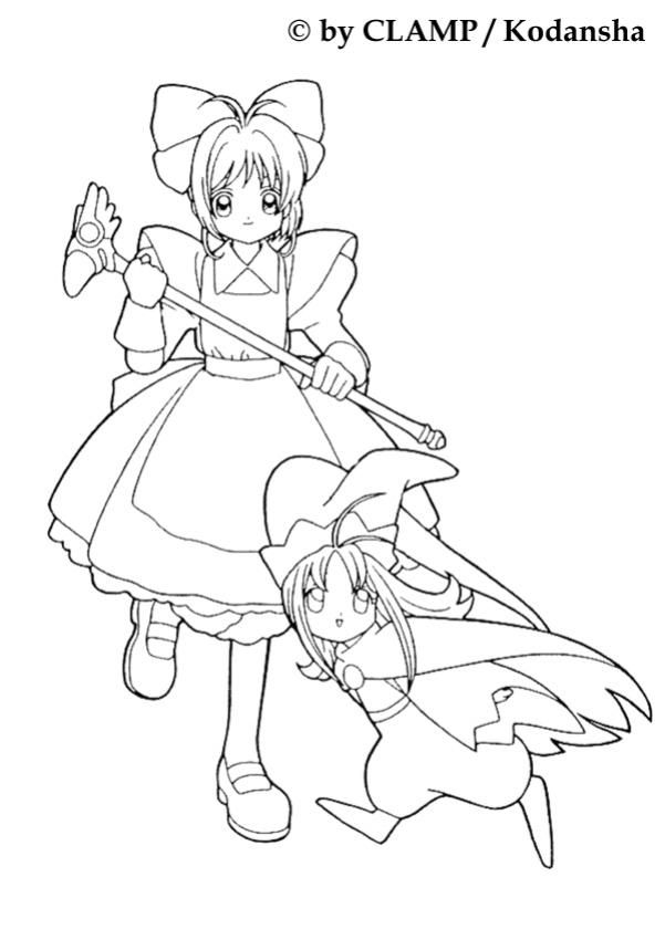 Coloriage de sakura et la petite fille anime coloring coloring pages for girls coloring - Coloriage manga livre ...