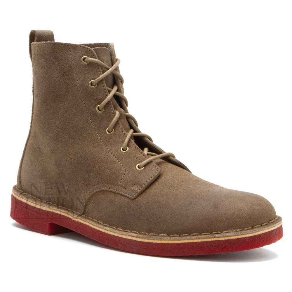 Clarks Originals Desert Mali Men's Suede Boots 66309 Taupe / Red Crepe