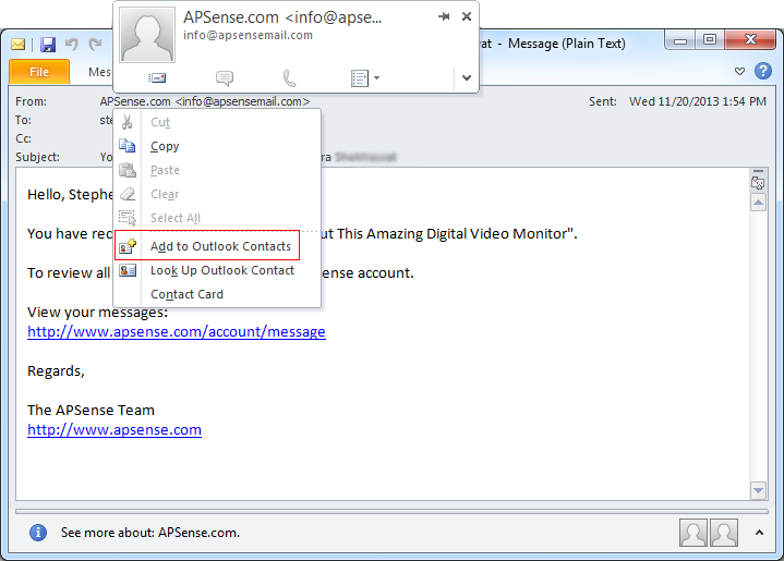 Learn Why Add To Outlook Contacts Option Is Missing From Ms Outlook And How To Get Back It For More Info Http Www Msoutlookware Ads Email Client Outlook