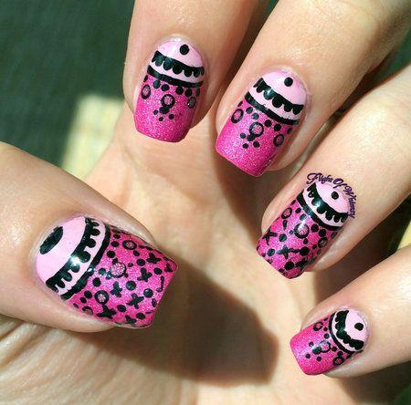 Pink Lacy Half Moons #pinknails #manicure #nailart - bellashoot.com