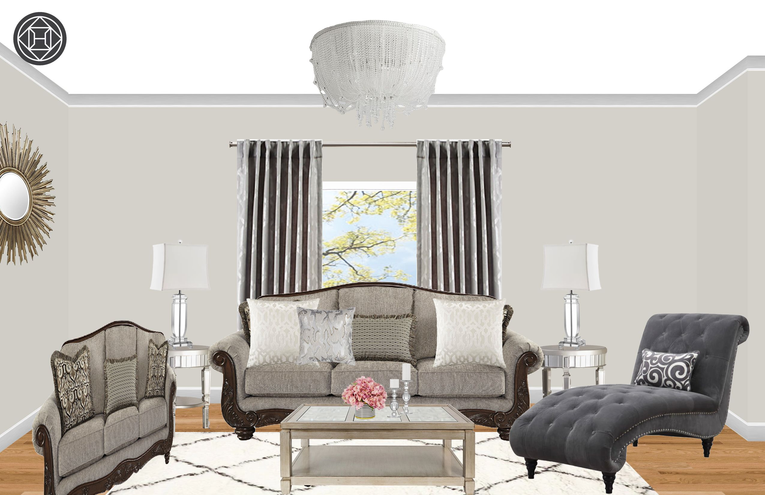 Contemporary, Glam, Traditional Living Room Design by Havenly ...