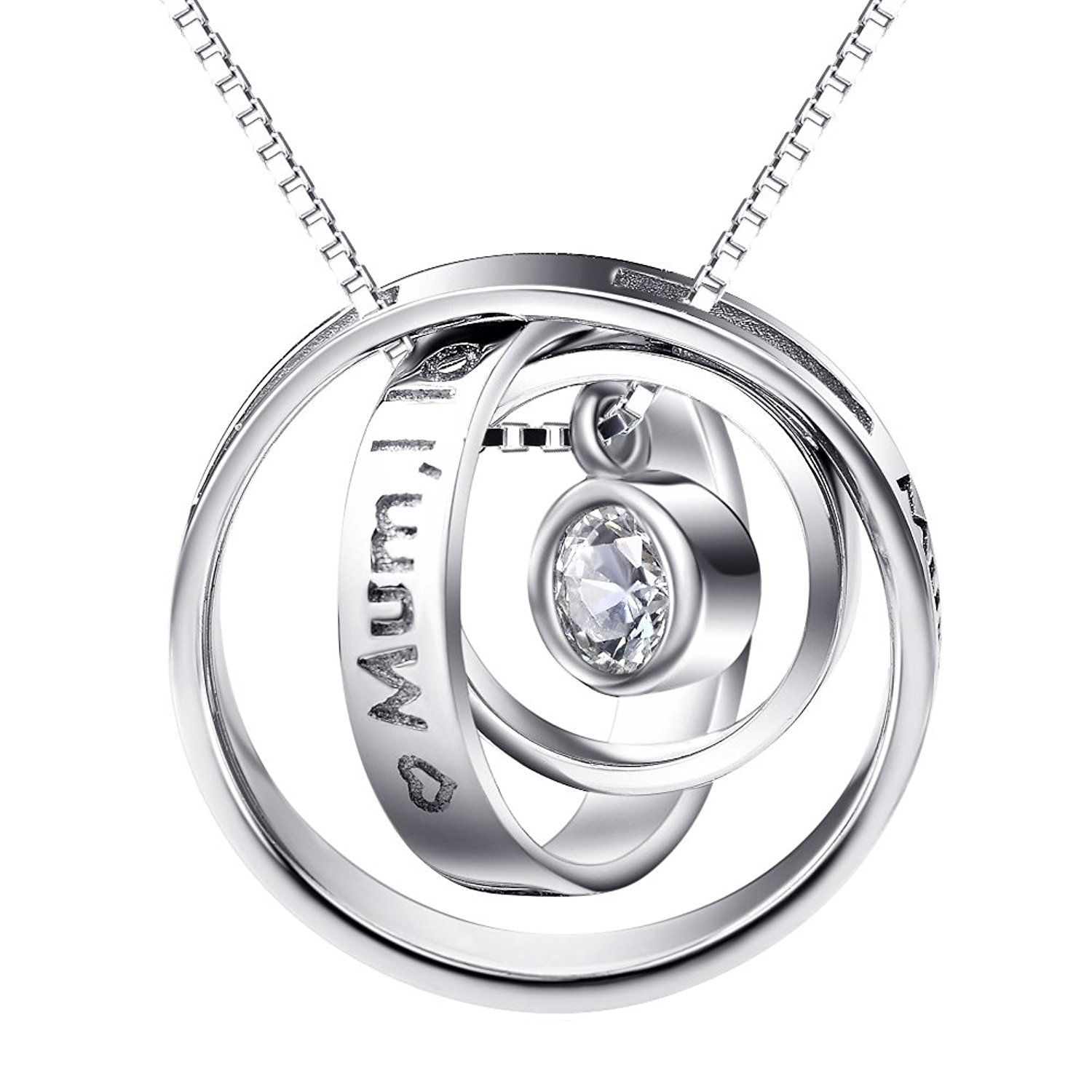 Silver Mountain 925 Sterling Silver Cubic Zirconia Double Cats Pendant Necklace Box Chain 18 bC5NZJrO