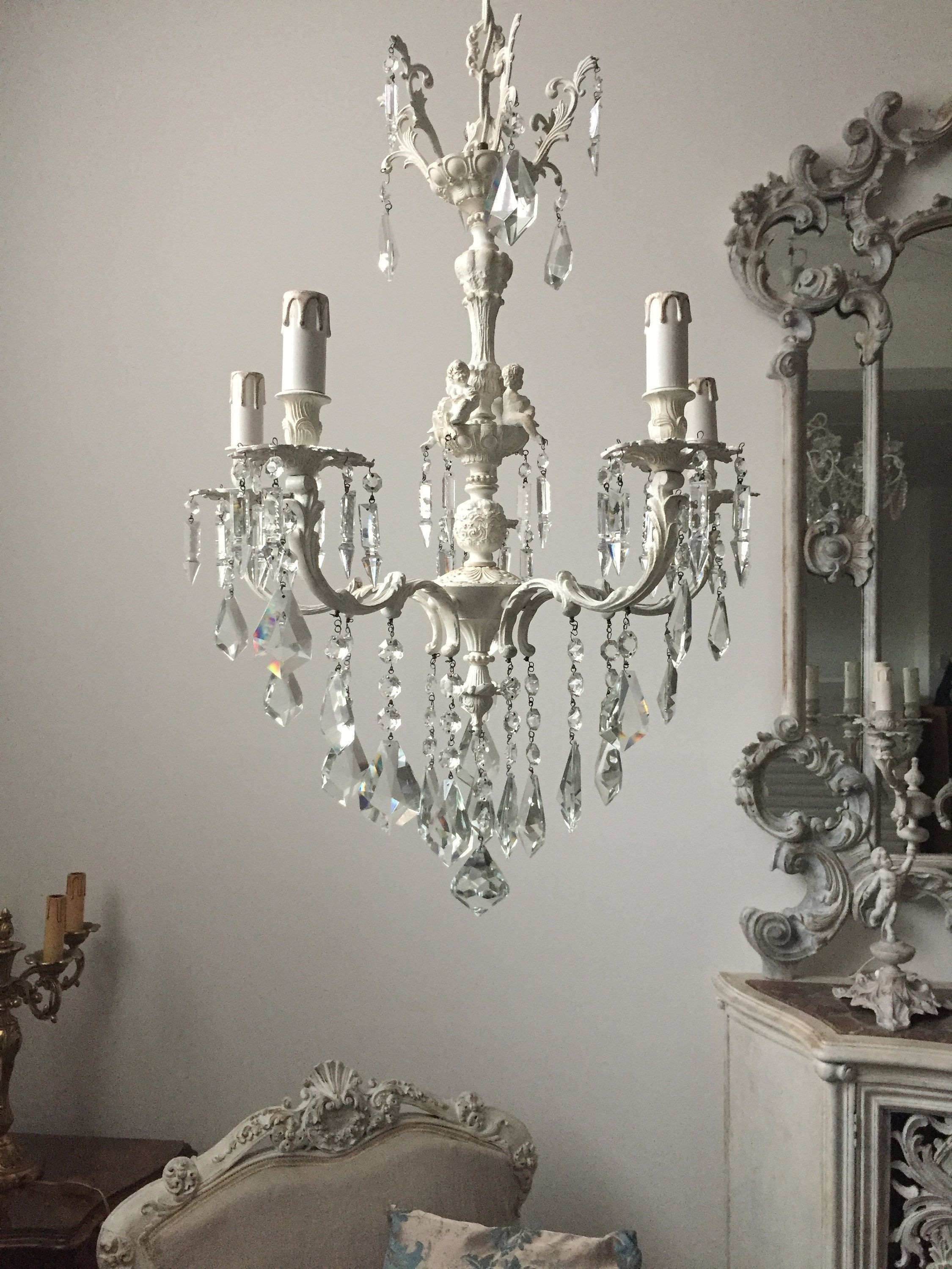 Italian Vintage Repurposed Crystal Drops Chandelier Shabby Chic Ivory Putti Chandelier Vintage Repurposed Crystal Drop Vintage Italian