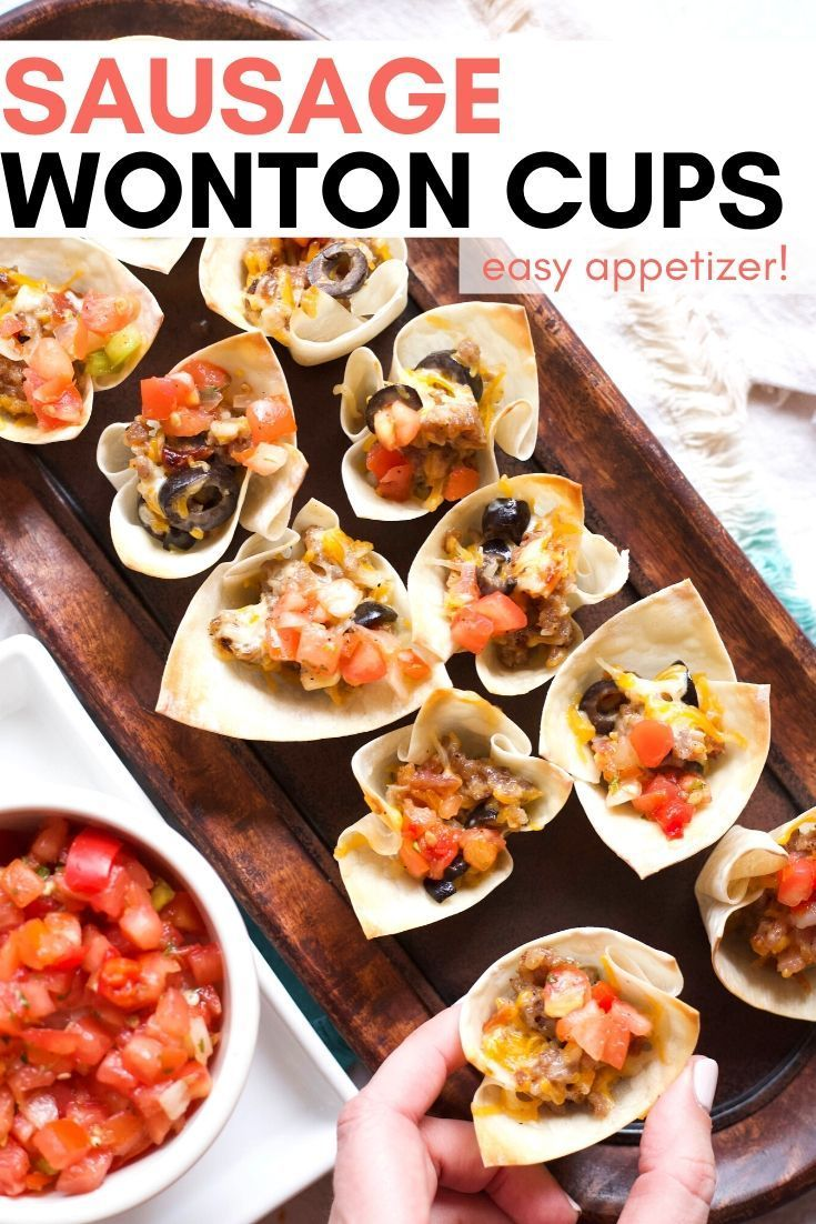 Sausage Wonton Cups These SAUSAGE WONTON CUPS are an easy appetizer that's a hit at parties! Saus