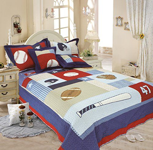 Auvoau Kids Quilt Classic Sports Baseball American Football Quilt Set Full 3pc Check Out This Great Baseball Bed Sports Bedding Baseball Comforter Bedding