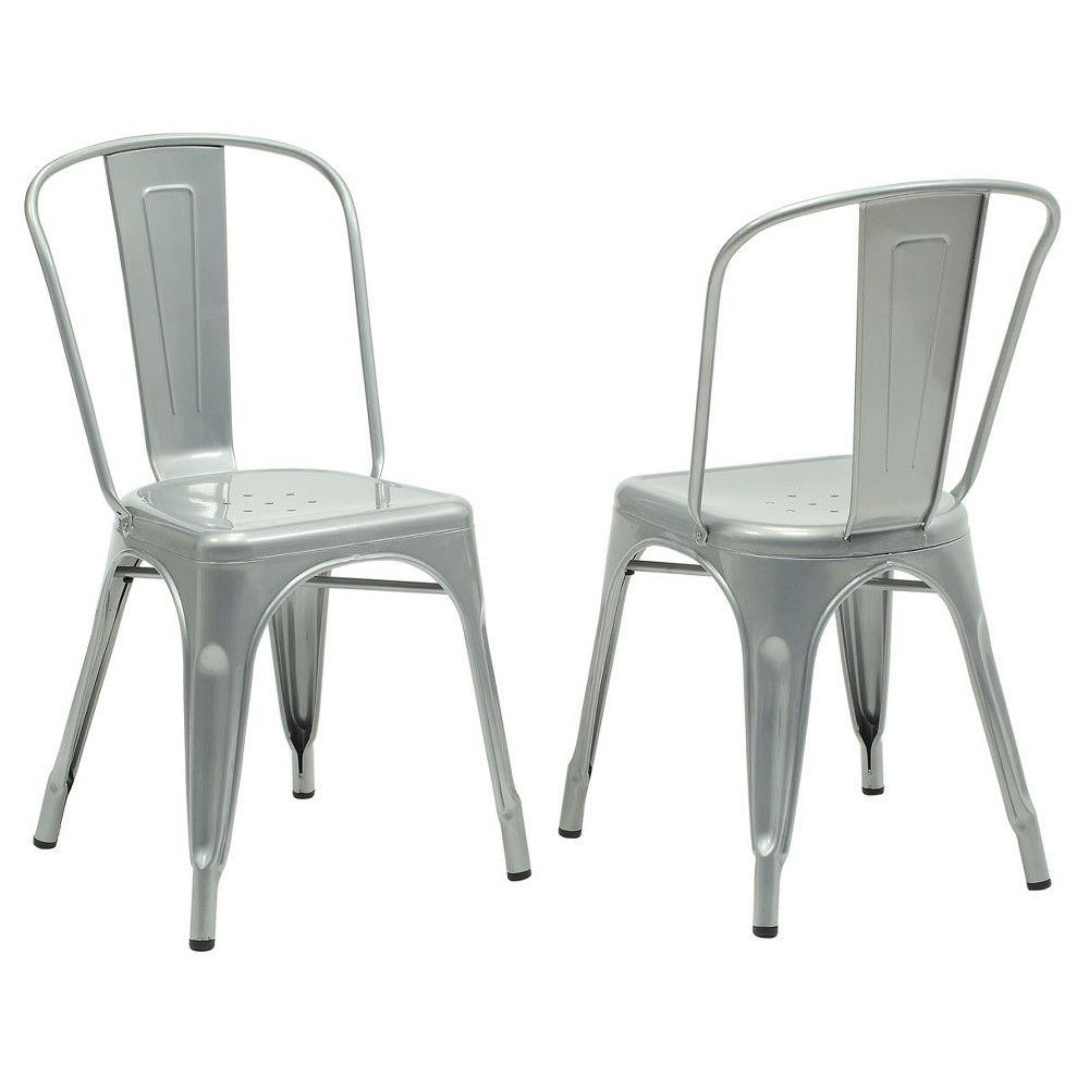Dining Chair 2 Piece Silver Galvanized Metal Everyroom