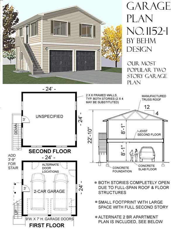 Behm design garage apartment plans no 1152 1 garage for Two car garage with loft apartment