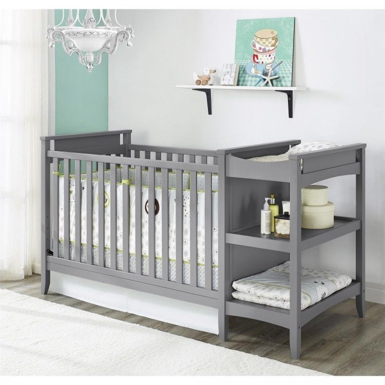 Grey Crib Changing Table Combo Baby Convertible Toddler Bed ...