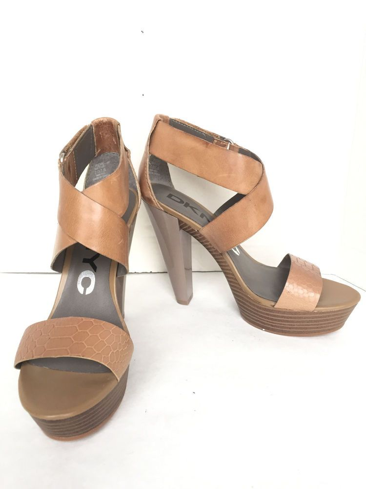 33e15bf3 DKNY Saddle Tan Distressed Leather Cross-Strap High Heel Sandals Size 7 M  New #DKNY #Sandals #Any