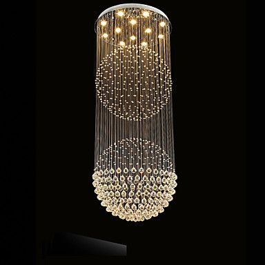 Led pendant light modern crystal chandelier 12 lights silver canpoy led pendant light modern crystal chandelier 12 lights silver canpoy clear crystal globe ceiling lamps fixtures aloadofball Image collections