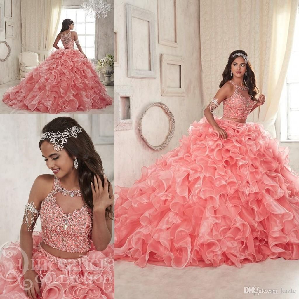 Coral Lace Organza Two Pieces Quinceanera Dresses 2018 Modest ...