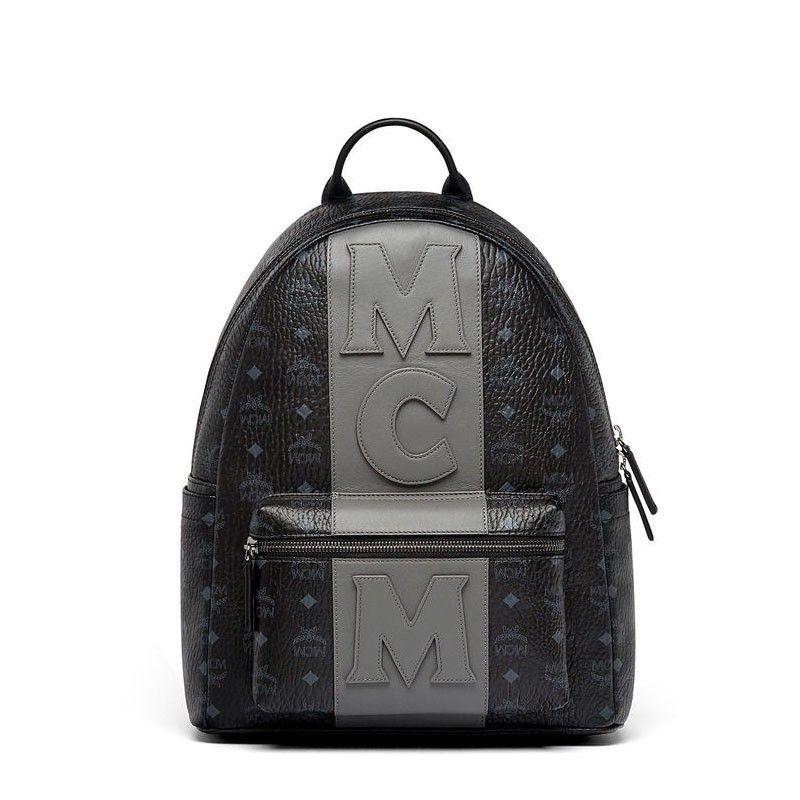 72f5c2efc6f MCM Medium Stark Logo Stripe Backpack In Black in 2019 | mcm ...