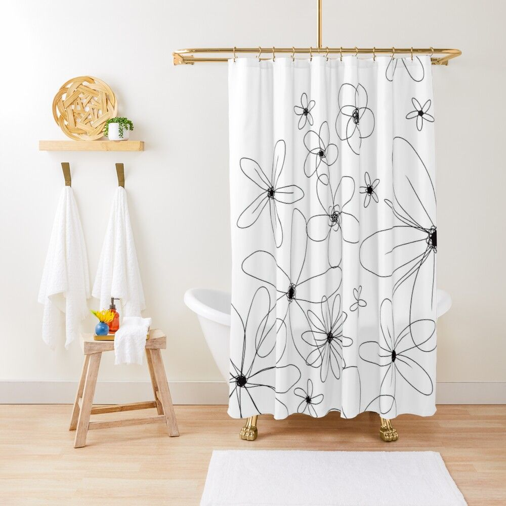 Minimalist Daisies Shower Curtain In 2020 Blue Shower Curtains