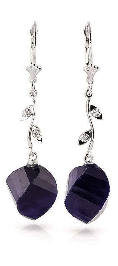 #QP Jewellers - #QP Jewellers Sapphire and Diamond Drop Earrings 30.5ctw in 9ct White Gold - AdoreWe.com