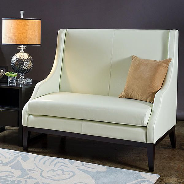 Cream Off White Leather Loveseat Settee Couch High Back