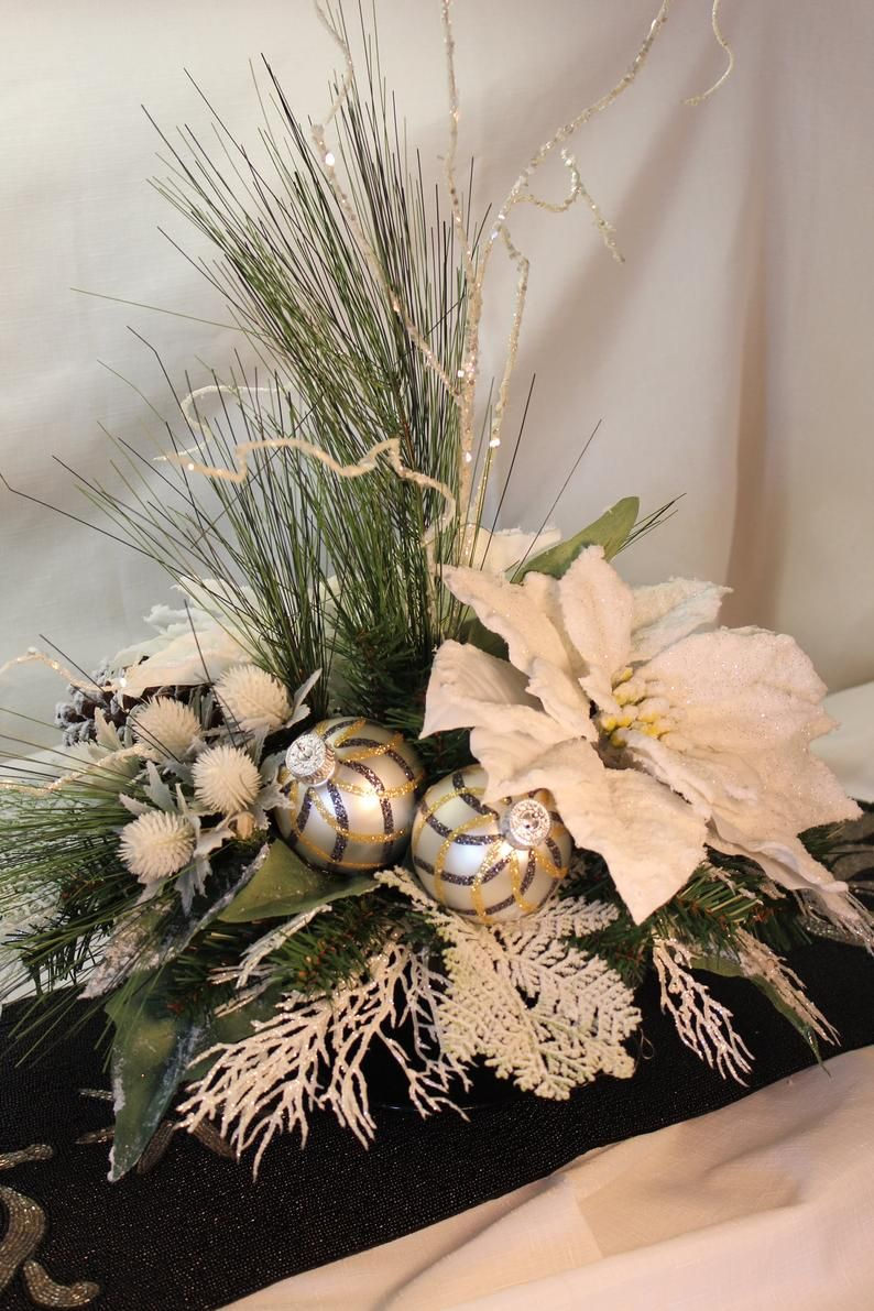 Christmas Centerpiece White Poinsettia Centerpiece Christmas Etsy Poinsettia Centerpiece Christmas Arrangements Christmas Floral Arrangements