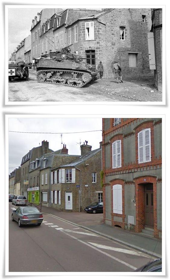 Viale Divisione Leclerc, verso l'alto Periers a Coutances. A destra la Rue de la Croix  #NORMANDIA1944