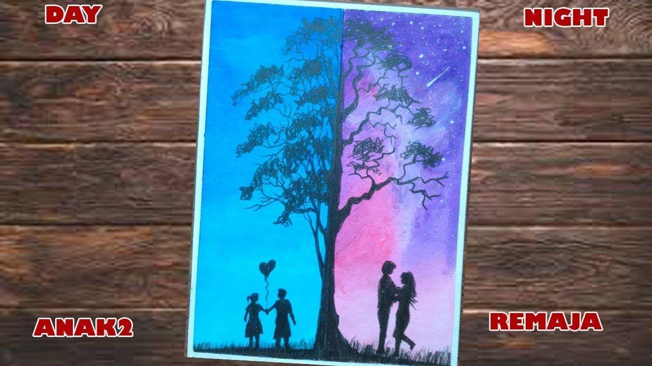 Day And Night Cara Menggambar Dua Dimensi Dengan Crayon Lukisan Gambar Seni