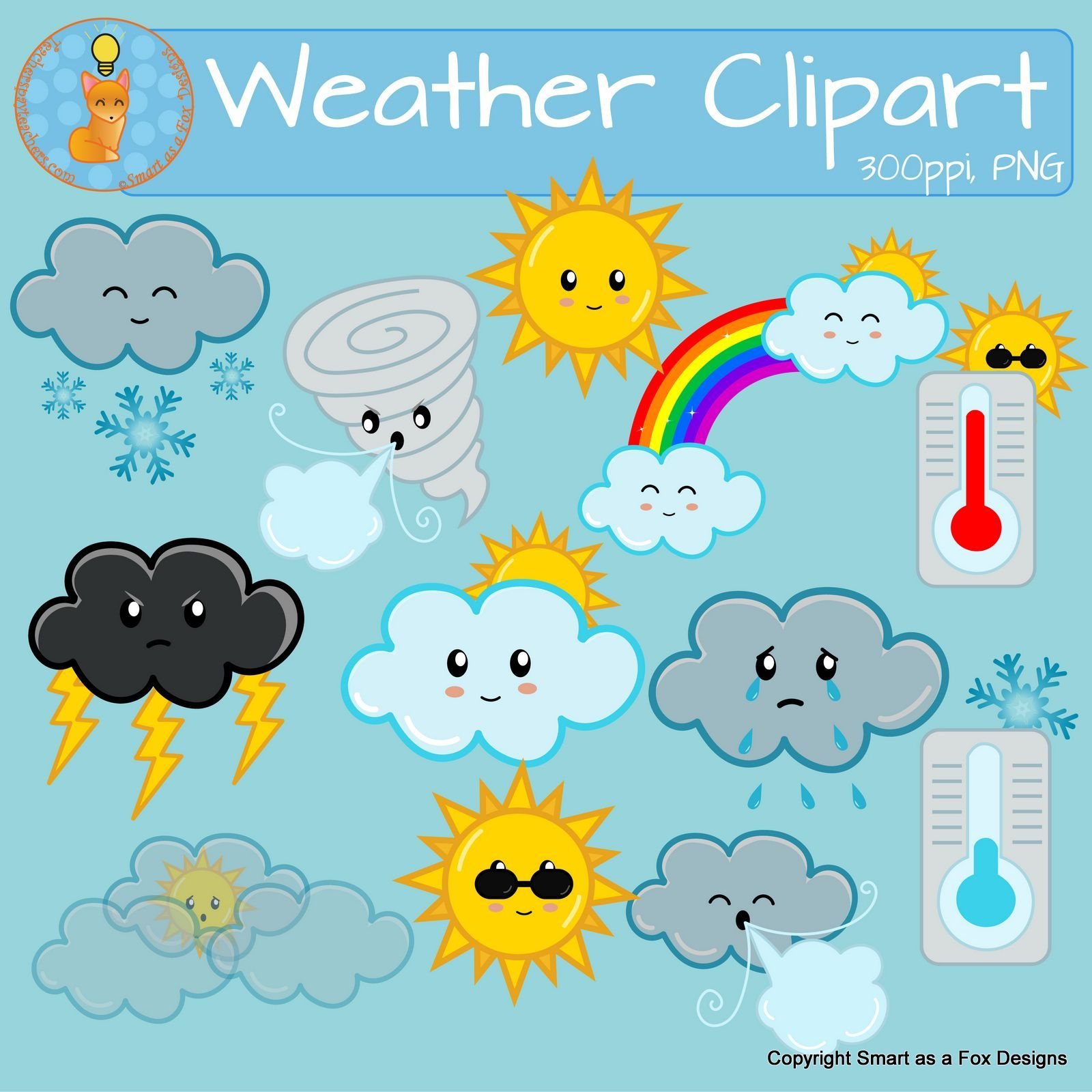 Weather Clipart Sunny Snow Cloudy Windy Rain Tornado