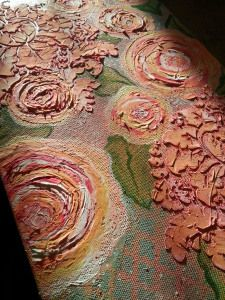 Rich Texture On Canvas Using Modeling Paste Chalk Paint And Acrylics In Coral And Pink Modeling Paste Floral Painting Flower Painting